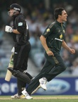Mitchell Johnson dismisses Peter Fulton and New Zeaoland lose their second wicket, Australia v New Zealand, CB Series, 8th match, Perth, January 28, 2007