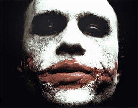 the first official picture of Heath Ledger in makeup, dressed as Batman's arch-villain, The Joker.