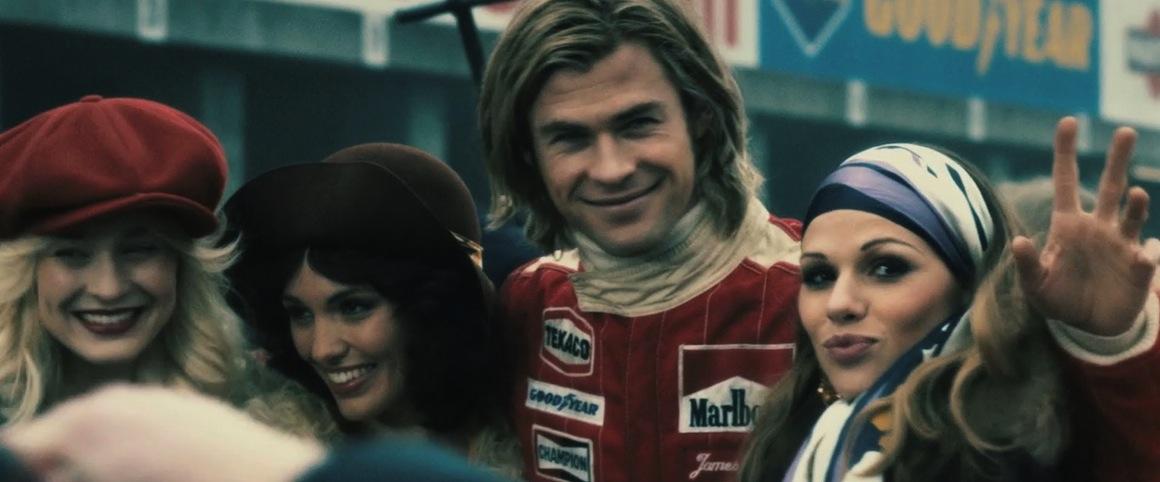 Chris Hemsworth as James Hunt in Ron Howard's Rush (2013).
