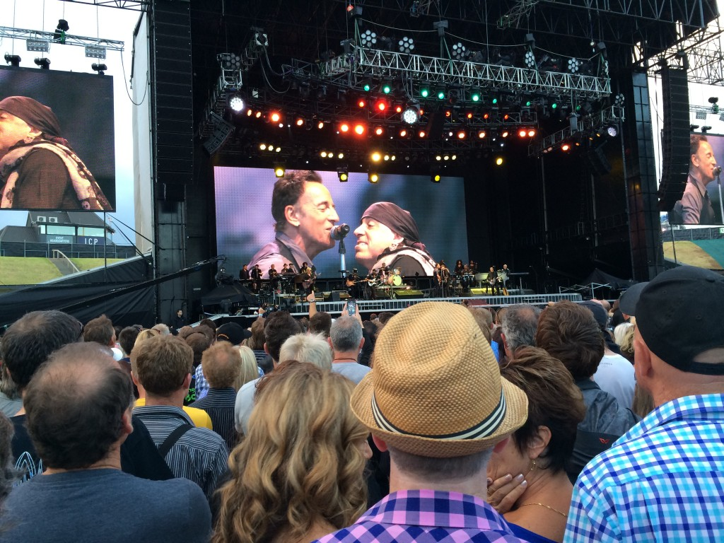 Bruce Springsteen and Miami Steve on the big screen at Ericsson Stadium, March 2