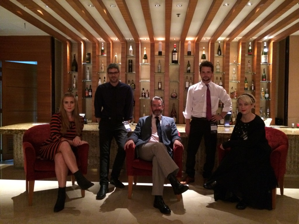 Left to right: Aidee Walker, Johnny Barker, your Kuala Lumpur correspondent, Hayden Weal, Annie Duckworth at the bar of the Prince Residency and Hotel