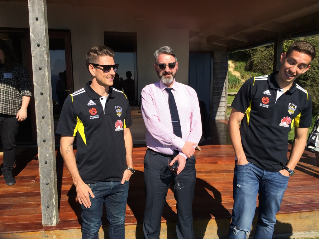 Left to right: At time of writing current A-League Golden Boot leader Nathan Burns, your correspondent, midfielderAlex Rodriguez. Notice how I am holding my hands across my tummy as I know I am going to want people to see these photos.
